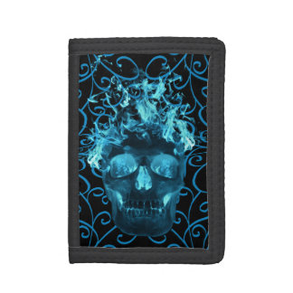 Blue Flame Skull Wallet