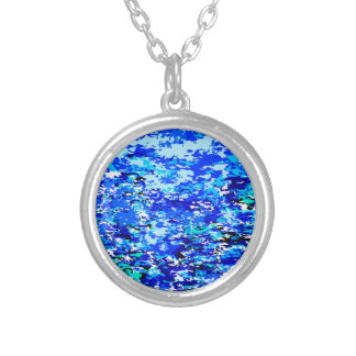 Blue Flames Background Silver Plated Necklace