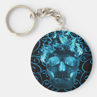 Blue Flaming Skull Key Chain