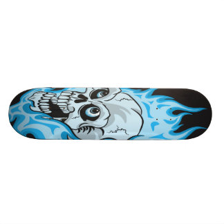 Blue Flaming Skull Skateboard Deck