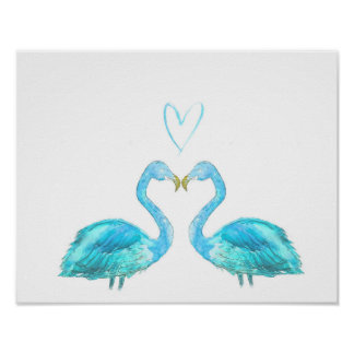 Blue flamingos with love heart poster