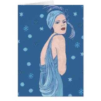 Blue Flapper Christmas Card