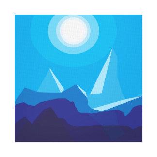 blue flat landscape night canvas print