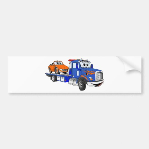 Blue Flatbed Tow Truck Bumper Stickers