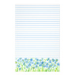 Blue Flax Watercolor Flowers Lined Stationery Design