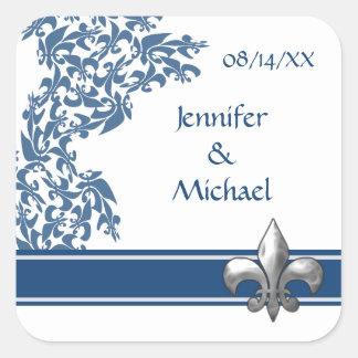Blue Fleur de Lis Damask Pattern Wedding Stickers