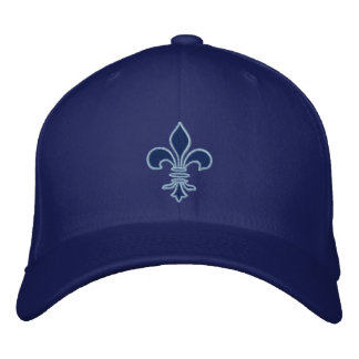 Blue Fleur de Lis Embroidered Hat