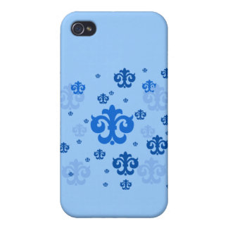 Blue Fleur de Lis Scattered About Cover For iPhone 4