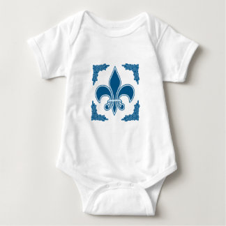 Blue Fleur de Lis with Ornate Border Baby Bodysuit
