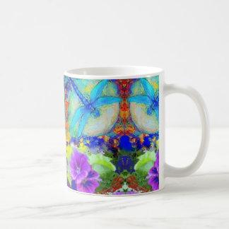 Blue Flirting Dragonflys Purple Flowers by Sharles Basic White Mug