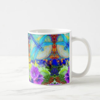 Blue Flirting Dragonflys Purple Flowers by Sharles Coffee Mug