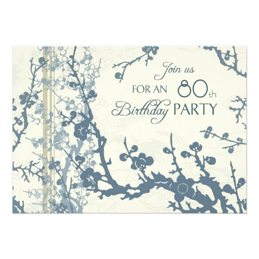 Blue Floral 80th Birthday Party Invitation Cards
