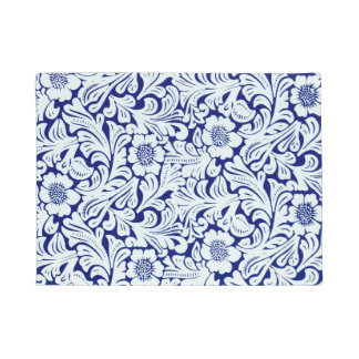 Blue floral abstract pattern doormat