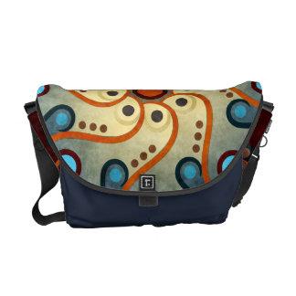 Blue Floral Abstract Vector Art Messenger Bag