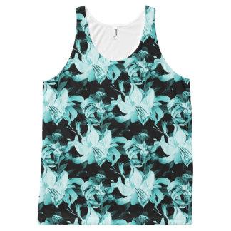 Blue Floral All-Over Print Singlet