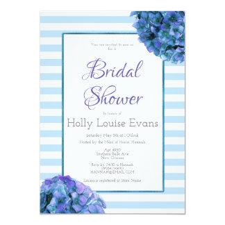 Blue Floral and Stripe Bridal Shower Invitation
