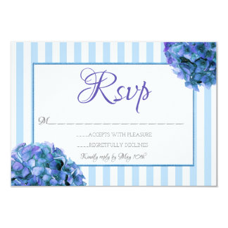 Blue Floral and Stripe RSVP Card