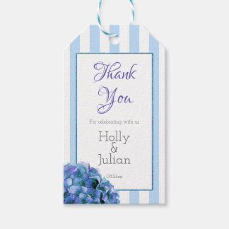 Blue Floral and Stripe Thank You Favor Tags