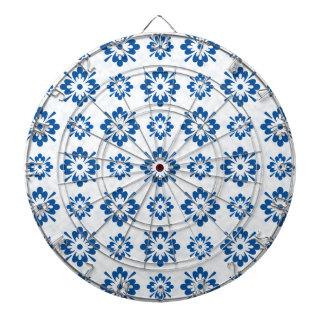 Blue floral art pattern dartboard