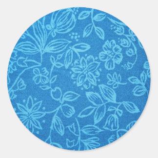 Blue Floral Background Round Sticker