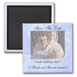 Blue Floral Background Save The Date Photo Magnet