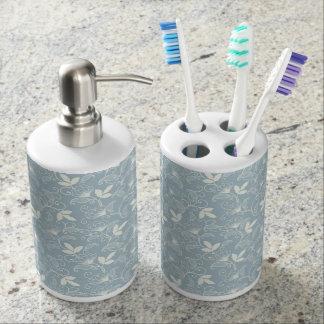Blue Floral Bathroom Set