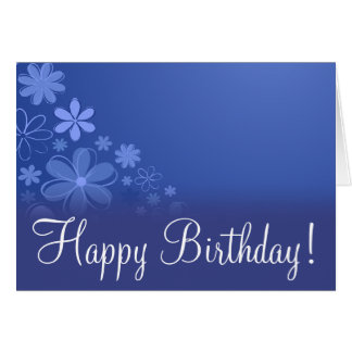 "Blue Floral ""Birthday Card"" Greeting Card"