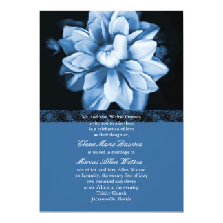 "Blue Floral Bloom Wedding Invitation 5"" X 7"" Invitation Card"