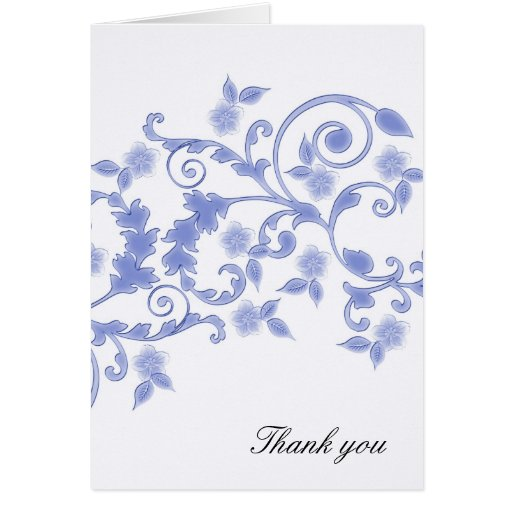 Blue Floral Blossom Swirls Thank you card Greeting Card