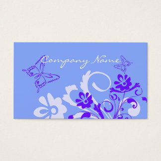 Blue Floral Butterfly Business Cards