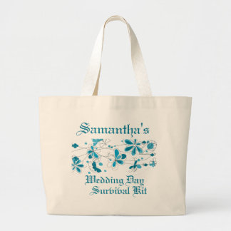 Blue Floral Butterfly Wedding Day Survival Kit Tote Bags