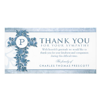 Blue Floral Cross Monogram Thank You Sympathy Photo Card