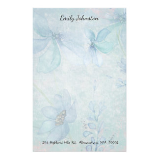 Blue Floral Custom Stationery