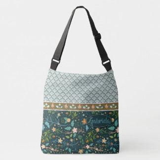 Blue Floral Custom Text Design Crossbody Bag