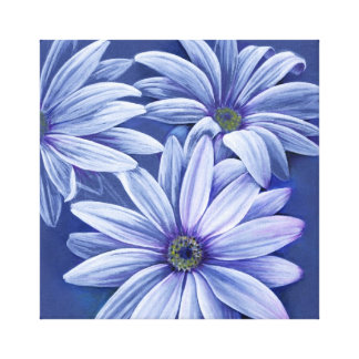 Blue floral daisy canvas original fine-art print stretched canvas print