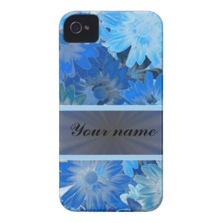 Blue Floral Daisy Pattern iPhone 4 Cases