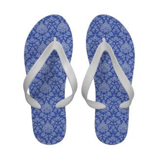 Blue Floral Damask Flip Flops