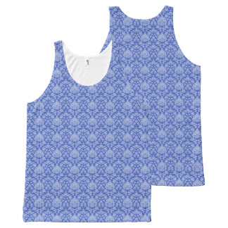 Blue Floral Damask All-Over Print Tank Top