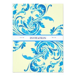 Blue Floral Damask Pattern invitation