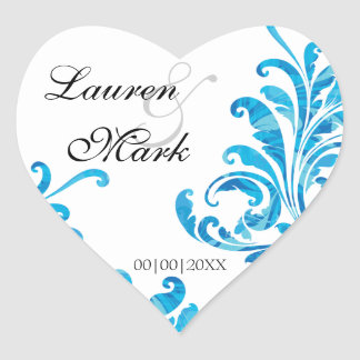 Blue Floral Damask Pattern Save the Date Sticker