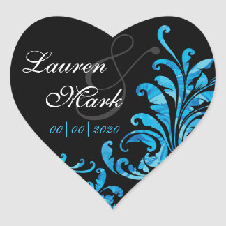 Blue Floral Damask Save the Date Heart Sticker