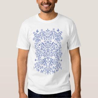 Blue Floral Damask Vines T-Shirt