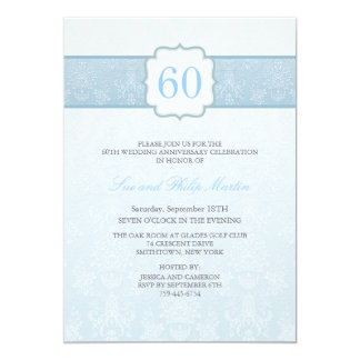 Blue Floral Damask Wedding Anniversary Invite