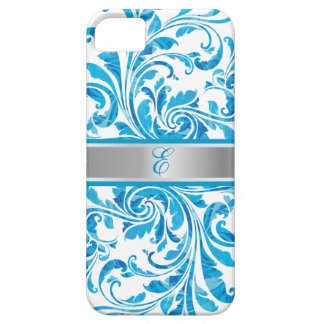 Blue Floral Damask With Silver Line iPhone 5 Cases