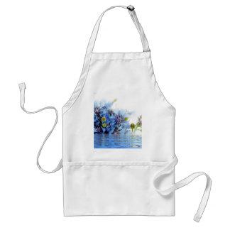 Blue floral decor arrangement clear water peaceful standard apron