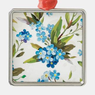 Blue Floral Ornaments