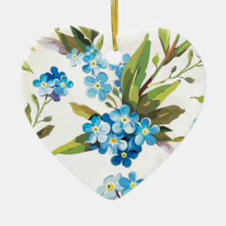 Blue Floral Double-Sided Heart Ceramic Christmas Ornament