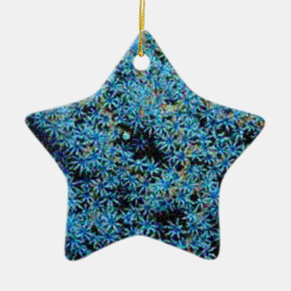 BLUE FLORAL Double-Sided STAR CERAMIC CHRISTMAS ORNAMENT
