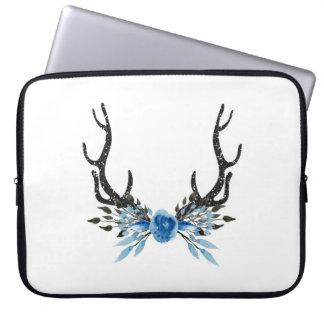 Blue Floral Deer Antlers Laptop Sleeve