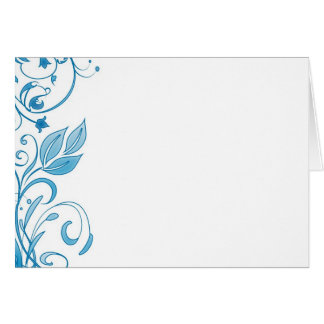 Blue Floral Design Add Your Text Note Card